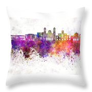 Limassol Skyline In Watercolor Background Throw Pillow