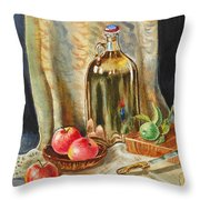 Lime And Apples Still Life Throw Pillow