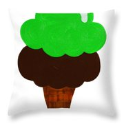 Lime And Chocolate Ice Cream Throw Pillow