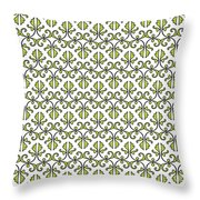 Lime Green And White Vines Throw Pillow