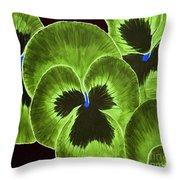 Lime Green Pansies Throw Pillow