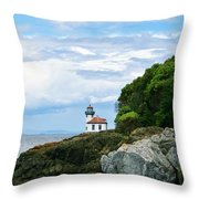 Lime Kiln Point Lighthouse Throw Pillow