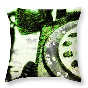 Lime Rotary Phone Throw Pillow