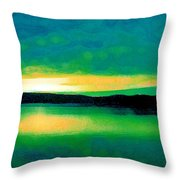 Lime Sunset Throw Pillow