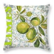Limes On Damask Throw Pillow