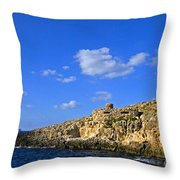 Limestone Rock, Mediterranean Sea, Malta Throw Pillow