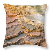 Limestone Terraces Yellowstone National Park Throw Pillow