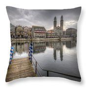 Limmat River Reflections Throw Pillow