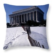 Lincoln Memorial In The Snow Throw Pillow