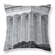 Lincoln Memorial Pillars Bw Throw Pillow