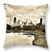 Lincoln Park View Sepia Throw Pillow
