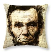 Lincoln Sepia Grunge Throw Pillow