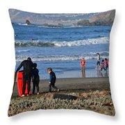 Linda Mar Beach Families Throw Pillow