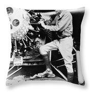Lindbergh Tunes Up Plane Throw Pillow