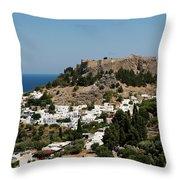 Lindos Acropolis Looking Seaward Throw Pillow