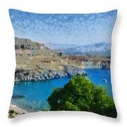 Lindos Beach Throw Pillow