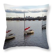Line Of Boats On The Charles River Throw Pillow
