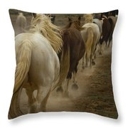Line Of Mares Throw Pillow