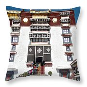 Line Of Pilgrims And Tourists Entering Former Living Quarters Of Dalai Lama In Potala Palace-tibet Throw Pillow