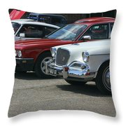 A Line Up Of Vintage Cars Throw Pillow
