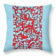 Lined Girl Throw Pillow