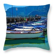 Lined Up Fleet In Sicily Throw Pillow