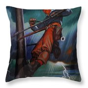 Lineman In Storm Throw Pillow
