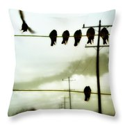 Abstract Bird Lines Throw Pillow
