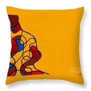 Linework Yellow Throw Pillow