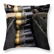 Linked 40mm Rounds Feed Into A Mark 19 Throw Pillow