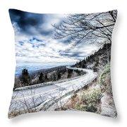 Linn Cove Viaduct Winter Scenery Throw Pillow