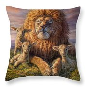 Lion And Lambs Throw Pillow