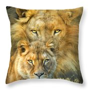 Lion And Lioness- African Royalty Throw Pillow