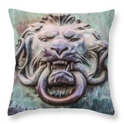 Lion And Snake Throw Pillow