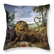 Lion And Three Wolves Throw Pillow