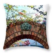 Lion Arch With Flowers Throw Pillow
