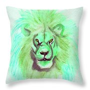 Lion Blue By Jrr Throw Pillow