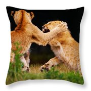 Lion Cubs Playing In The Grass Throw Pillow