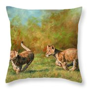 Lion Cubs Running Throw Pillow