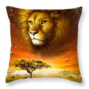 Lion Dawn Throw Pillow by Adrian Chesterman