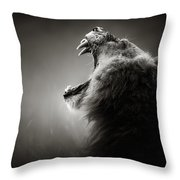 Lion Displaying Dangerous Teeth Throw Pillow