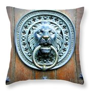 Lion Door Knocker In Norway Throw Pillow