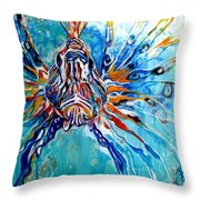 Lion Fish Blue Throw Pillow