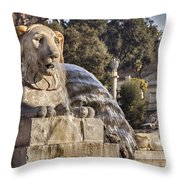 Lion Fountain In Rome Italy Throw Pillow