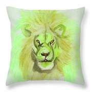 Lion Green Throw Pillow
