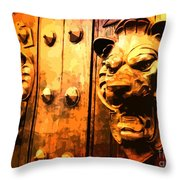 Lion Heads Gothic Door Throw Pillow