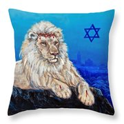 Lion Of Judah Before Jeruselum Throw Pillow