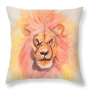 Lion Orange Throw Pillow