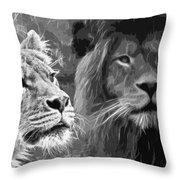 Lion Pair Black And White Throw Pillow