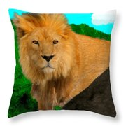 Lion Prowling Throw Pillow